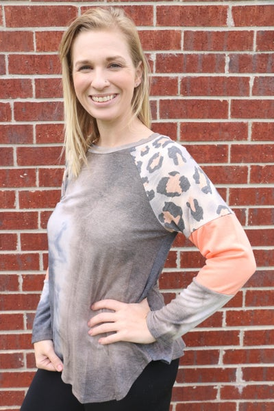 Give It Your Best Navy Tie Dye Top with Neon Coral Leopard Accent Sleeve - Sizes 4-20