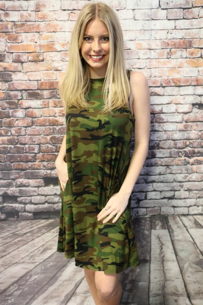 True To Yourself Camo Dress With Pockets- Sizes 4-20