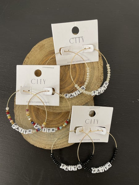 FAITH Letter Block And Crystal Bead Hoop Earring In Multiple Colors