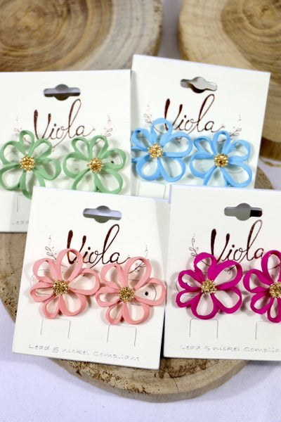 Flower Power Open Petal Flower Earring In Multiple Colors