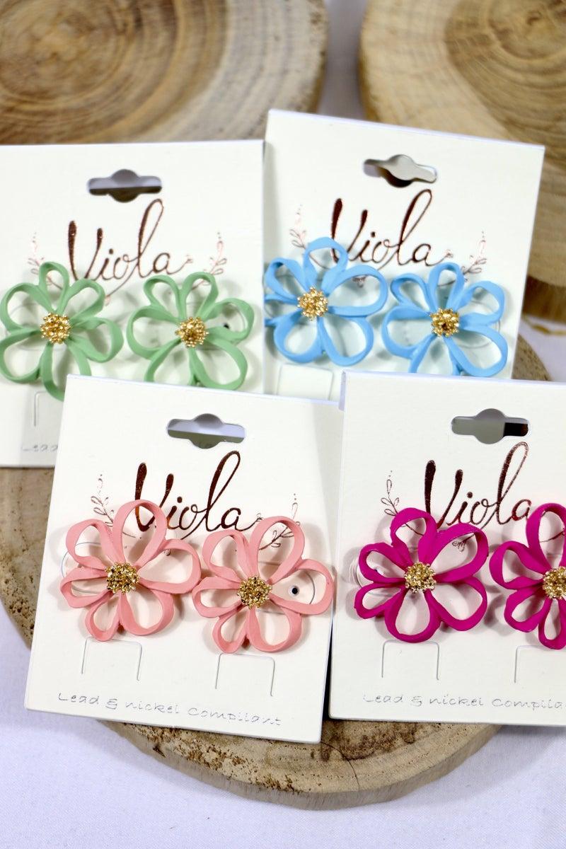 Flower Power Open Petal Flower Earring In Multiple Colors