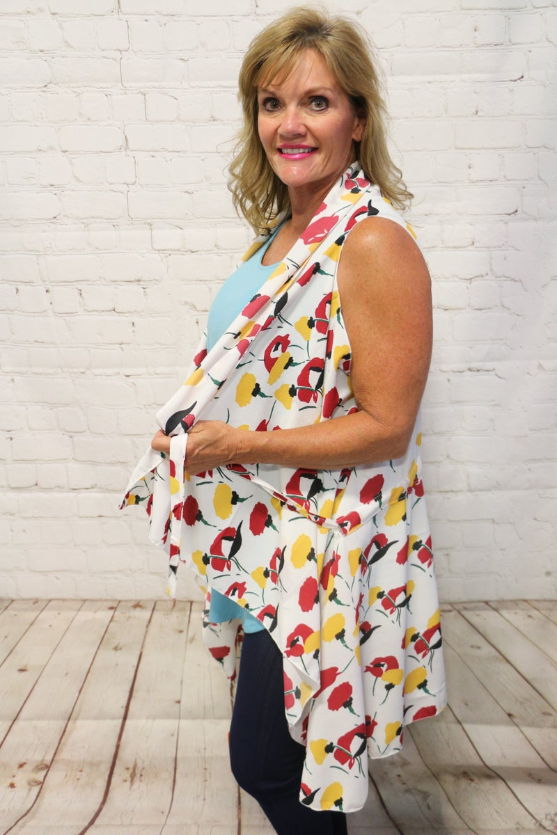 Feeling Free Floral Vest With Tie In Multiple Colors- One Size