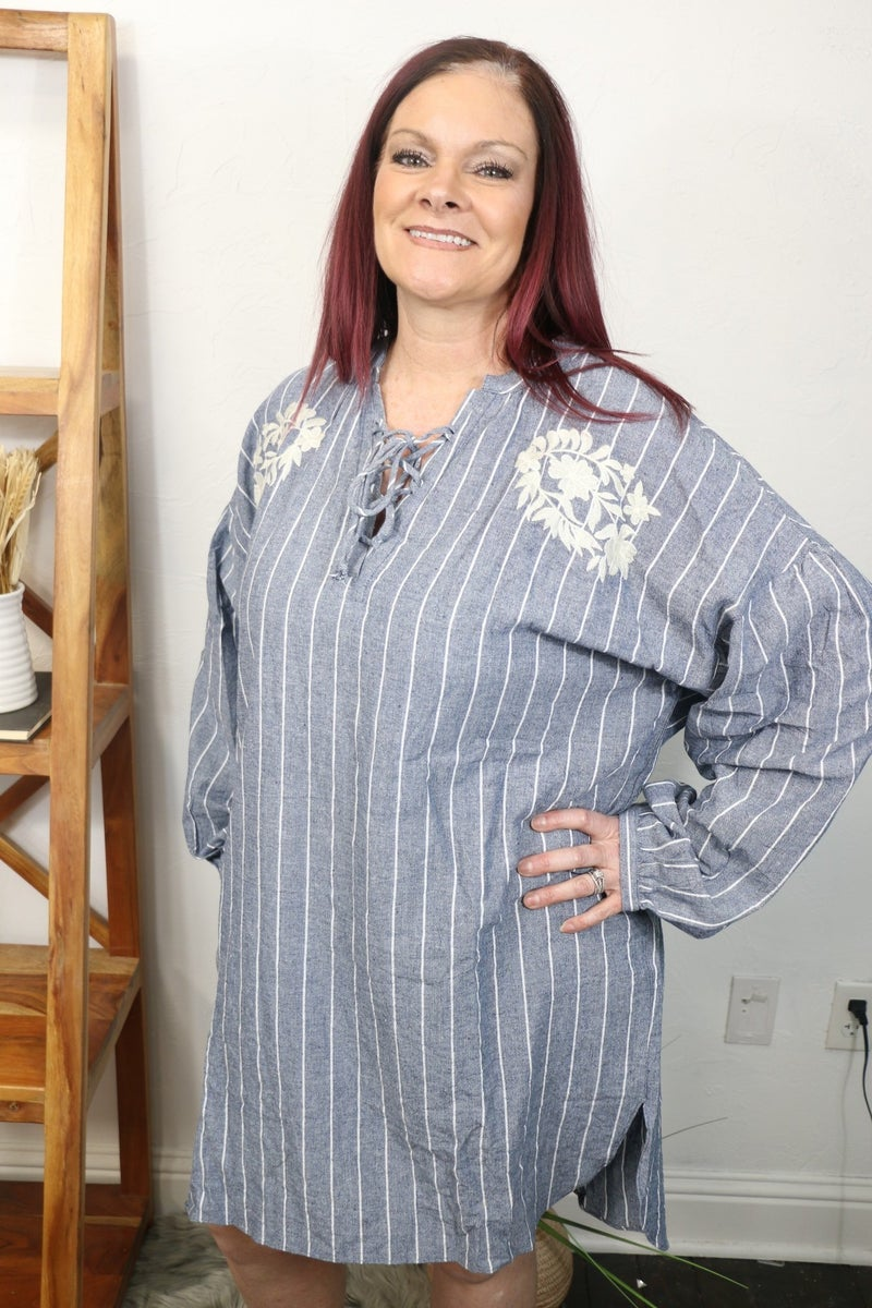 Walk on By Denim Tunic with Floral Embroidery and Tie V-Neck Tunic Dress - Sizes 12-20