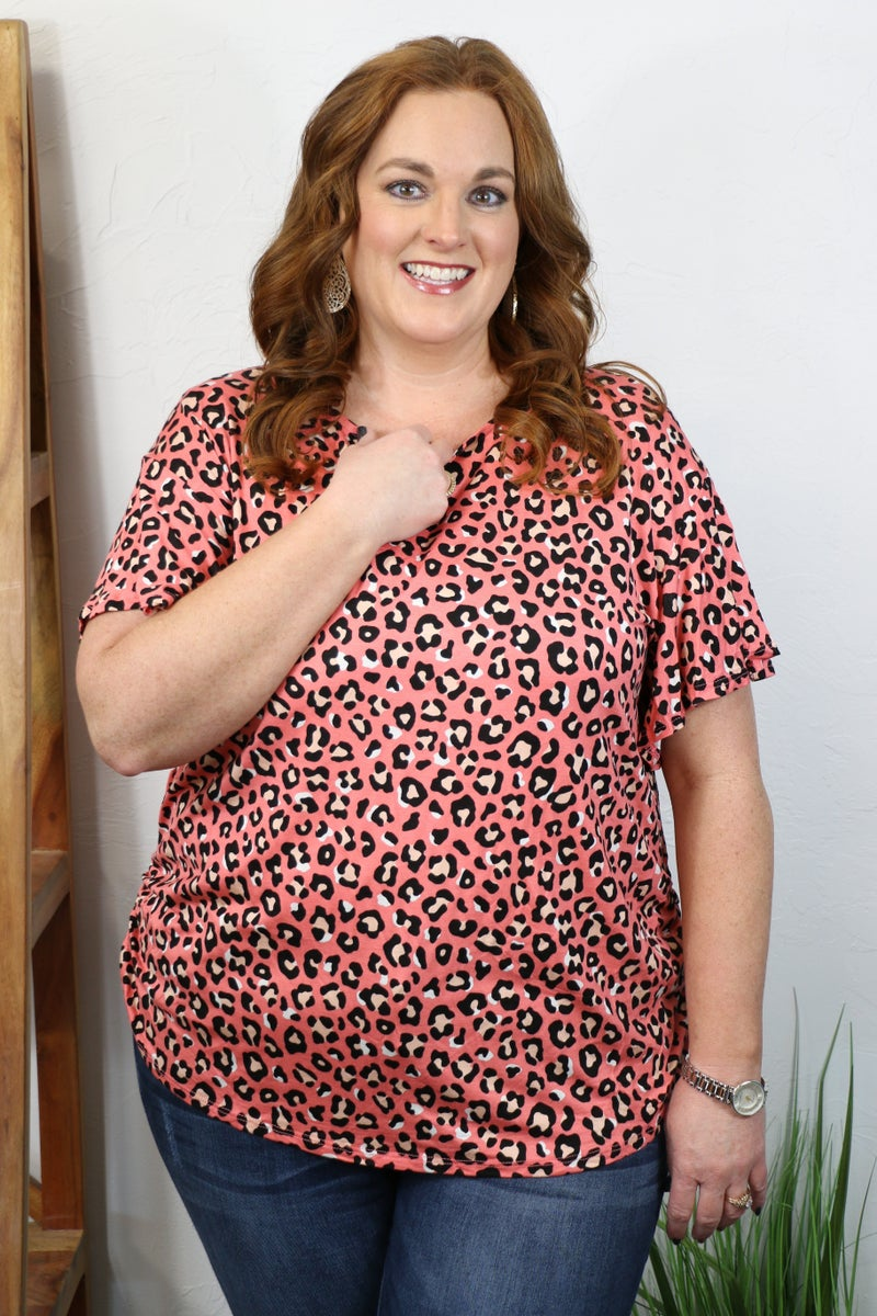 Drive Me Wild Leopard Short Sleeve Top in Multiple Colors - Sizes 12-20