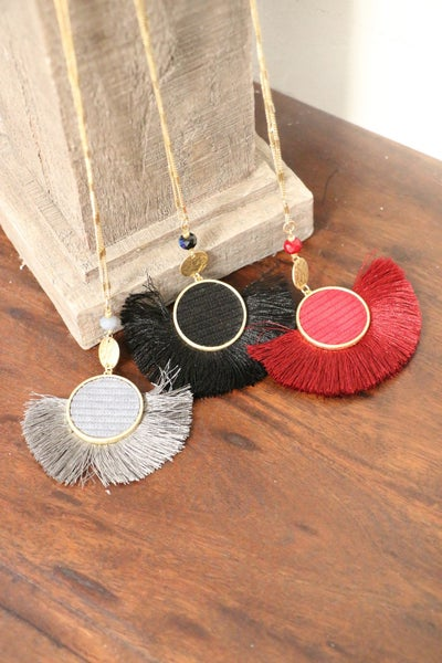 Forever Long Gold Necklace With Velvet Circle And Fringe Tassel In Multiple Colors