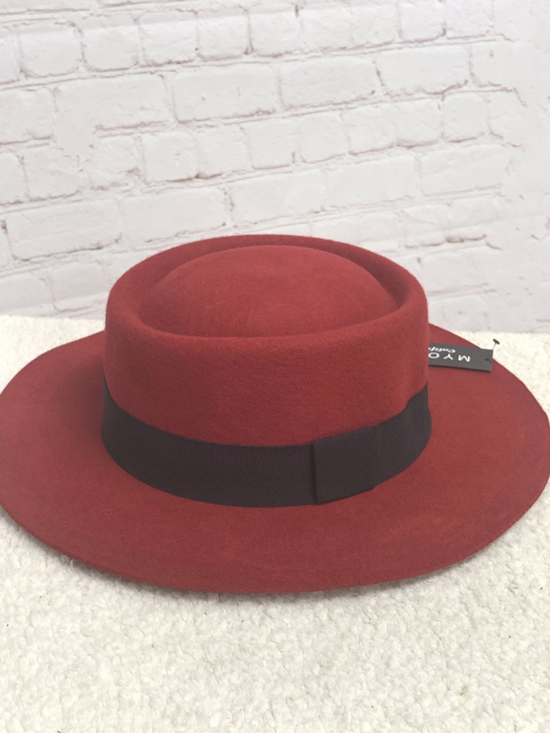 Classy Sassy Red Wool Hat With Black Band And Adjustable Rim