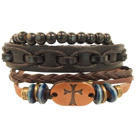 Never Alone Mens Copper Cross Bracelet Set