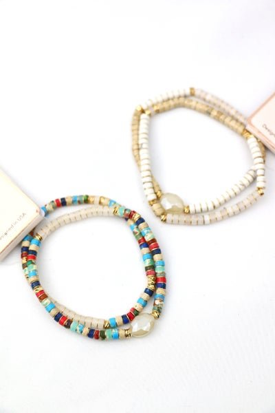 It's The Best 2 Strand Beaded Bracelet With Ivory Stone In Multiple Colors