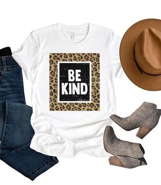 Be Kind Leopard Framed Graphic Tee Sizes In Multiple Colors - 4-20