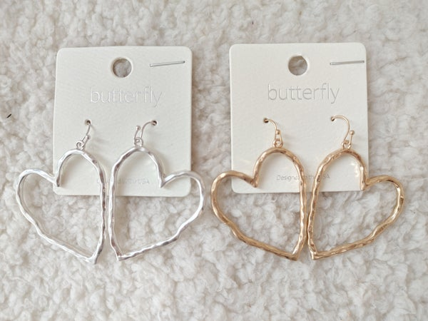 Hearts Afire Hammered Metal Heart Earring In Multiple Colors