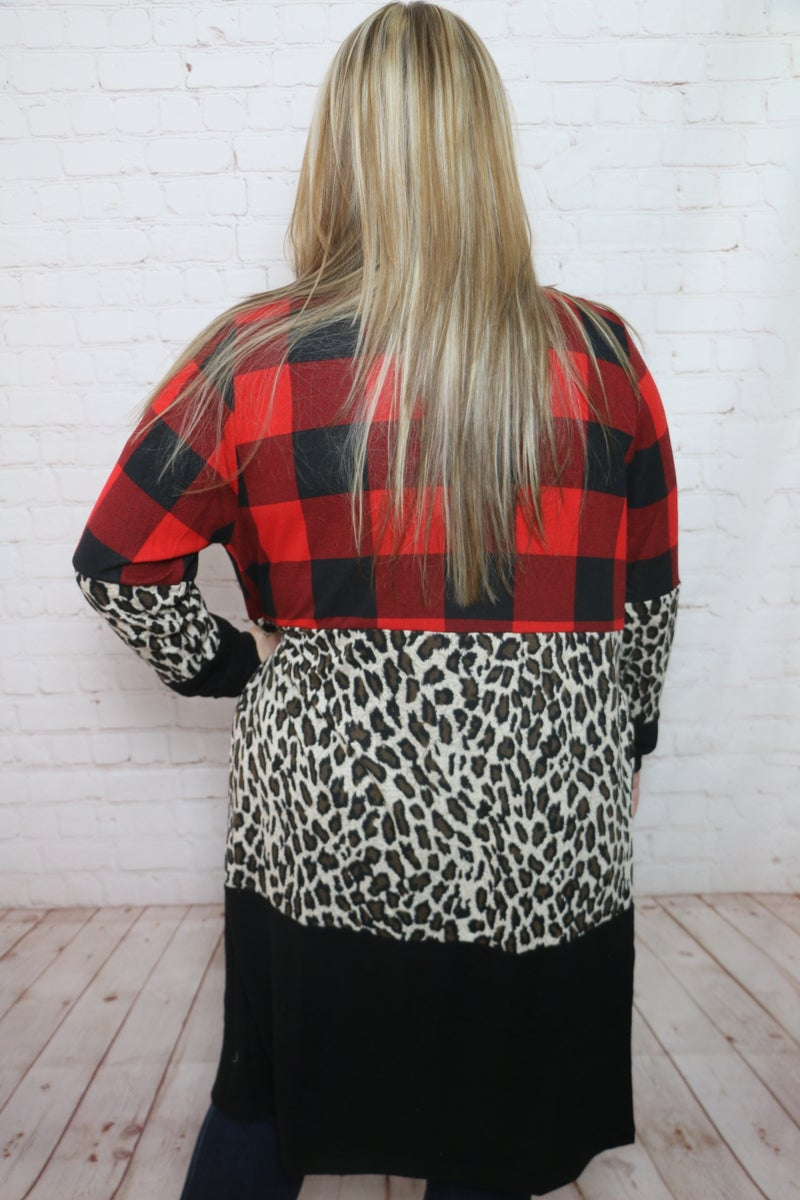Something Special Buffalo Check and Leopard Cardigan - Sizes 4-20