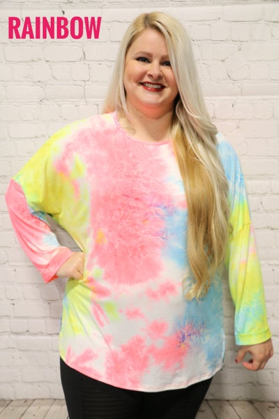Come Back Tie Dye Top In Multiple Colors- Sizes 12-20