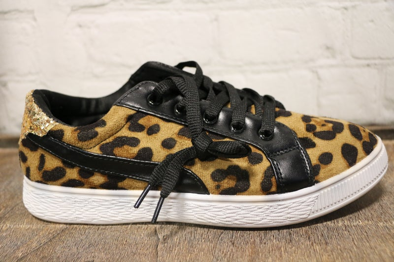 Live for the Moment Leopard Sneaker with Gold Glitter-Sizes-7-11