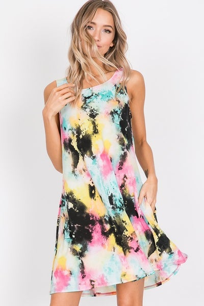 It's All About Me Multi-Colored Tie Dye Dress ~ Sizes 4-20