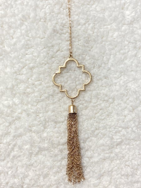 Hello Beautiful Long Gold Necklace With Quatrefoil And Tassel Pendant