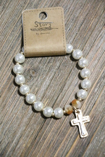 Majesty Pearl And Gold Bead Stretch Bracelet With Cross Charm