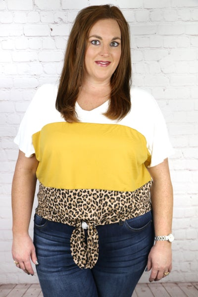 Running Wild Leopard Colorblock Mustard Top with Knotted Front Detail - Sizes 12-20