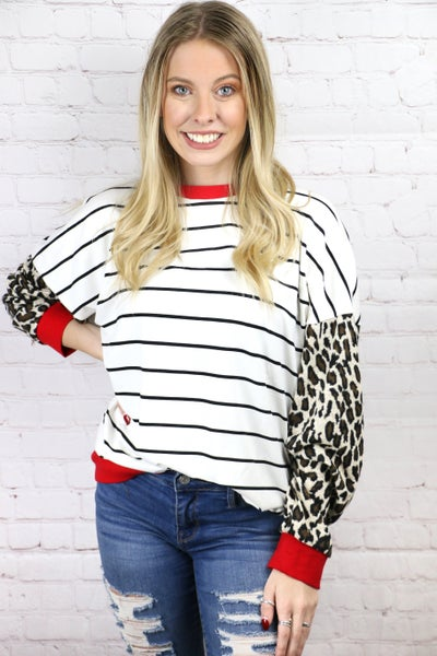 Lead You Home Striped Top with Leopard Sleeves - Sizes 4-20