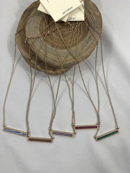 All In A Day Short Gold Necklace With Rectangle Stone Bar Pendant In Multiple Colors