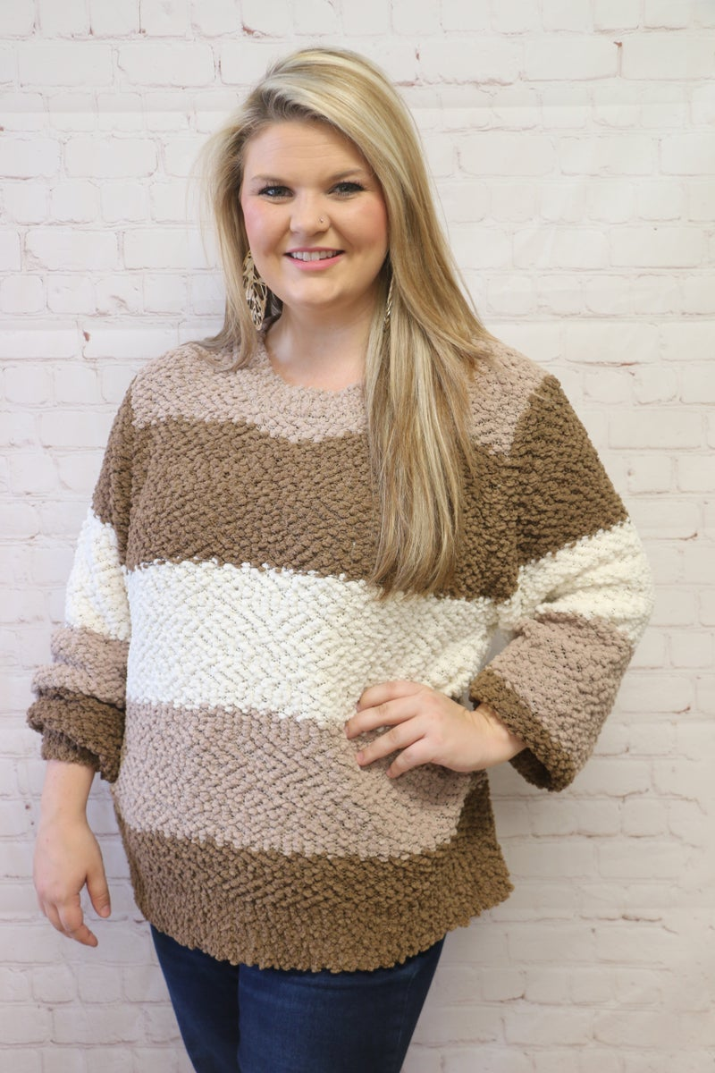 You've Got It In You Striped Popcorn Sweater in Multiple Colors - Sizes 4-12