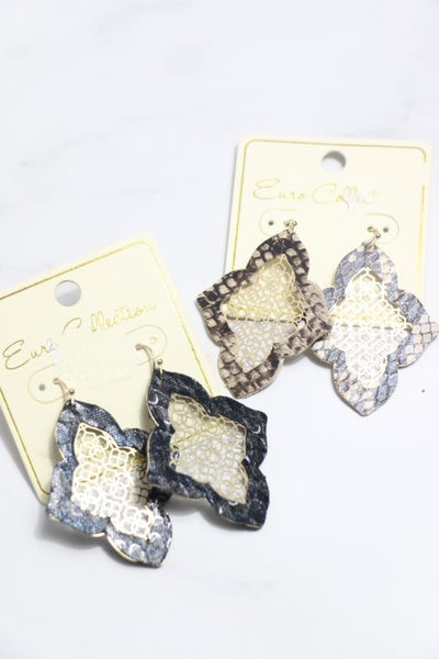 On The Run Snakeskin Moroccan Shape Earring With Gold Filigree Center In Multiple Colors
