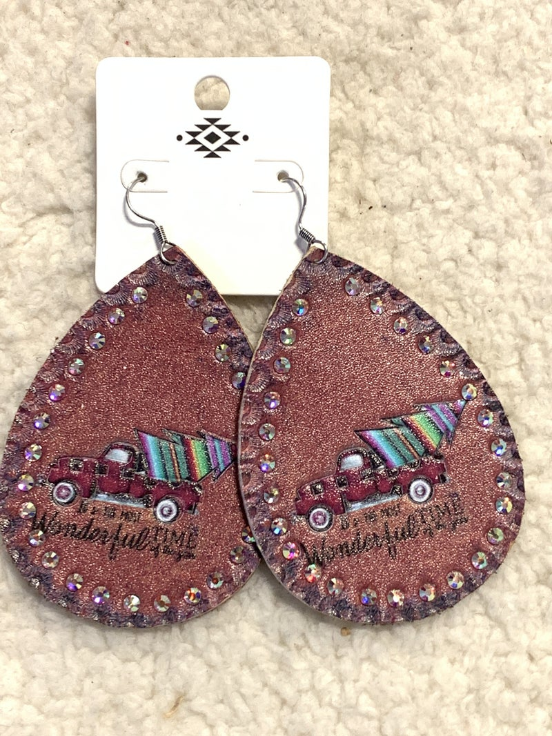 Wonderful Time Brown Leather Teardrop Earring With Truck And Serape Christmas Tree