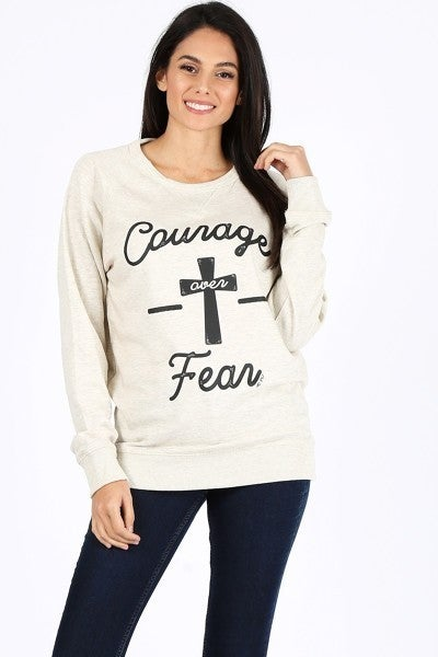 Courage Over Fear Cross Oatmeal Graphic Sweatshirt - Sizes 4-20