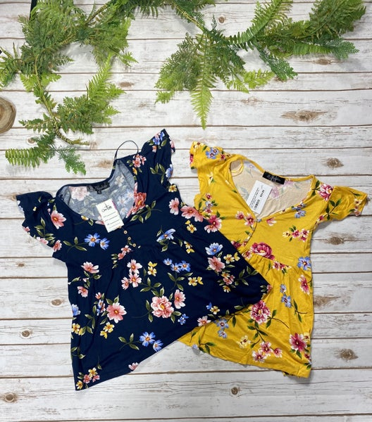 The Most Beautiful Girl Floral Peplum Top in Multiple Colors - Sizes 4-10