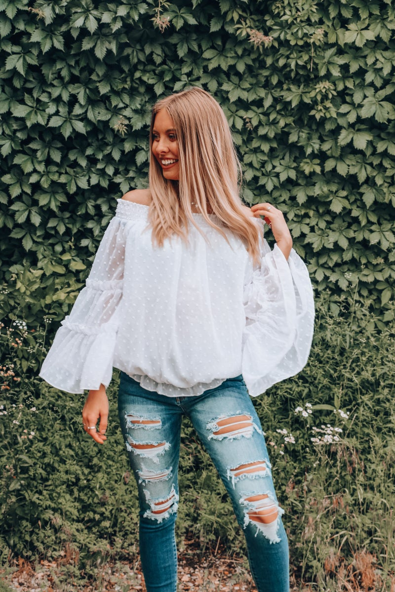 Most Beautiful Girl White Swiss Dot Off the Shoulder Bell Sleeve Top with Gathered Waist - Sizes 4-10