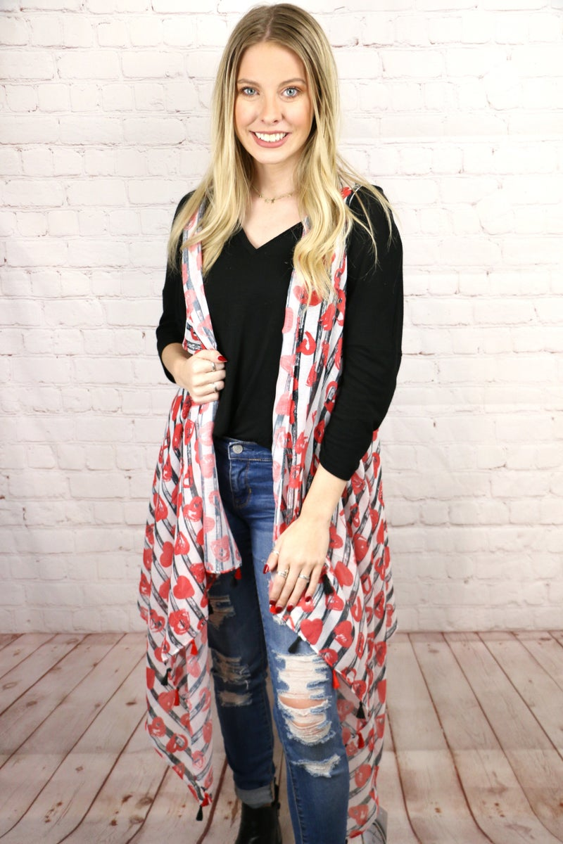 It's Your Love Black and White Stripes with Red Hearts Waterfall Vest - One Size