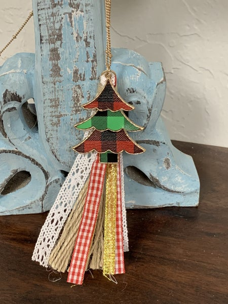 Dreaming Long Gold Necklace With Christmas Tree Pendant And Tassel