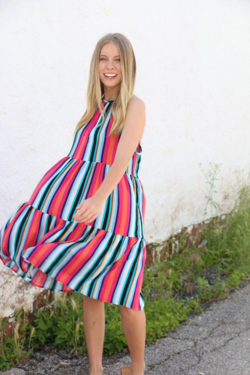 Lovely Life Multi-Color Striped Halter Dress - Sizes 4-20