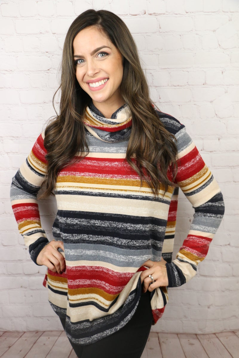 More than Just a Dream Striped Cowl Neck Top - Sizes 4-10
