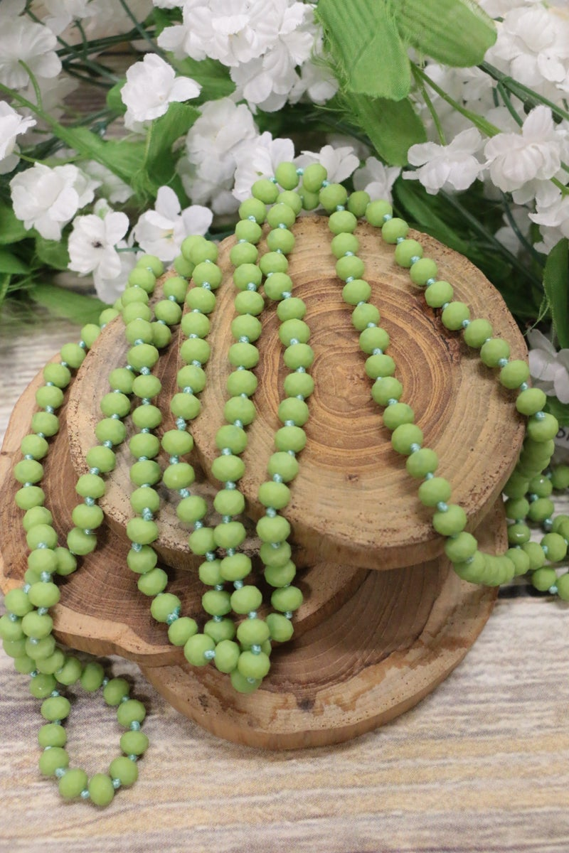 Point Of Perfection Beaded Necklace In Lime