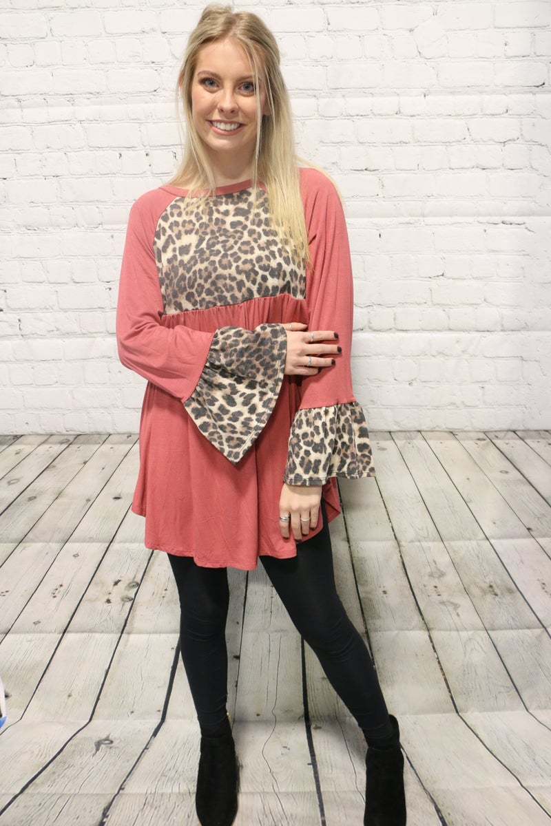 Back Again Leopard And Mauve Bell Sleeve Top- Sizes 4-20