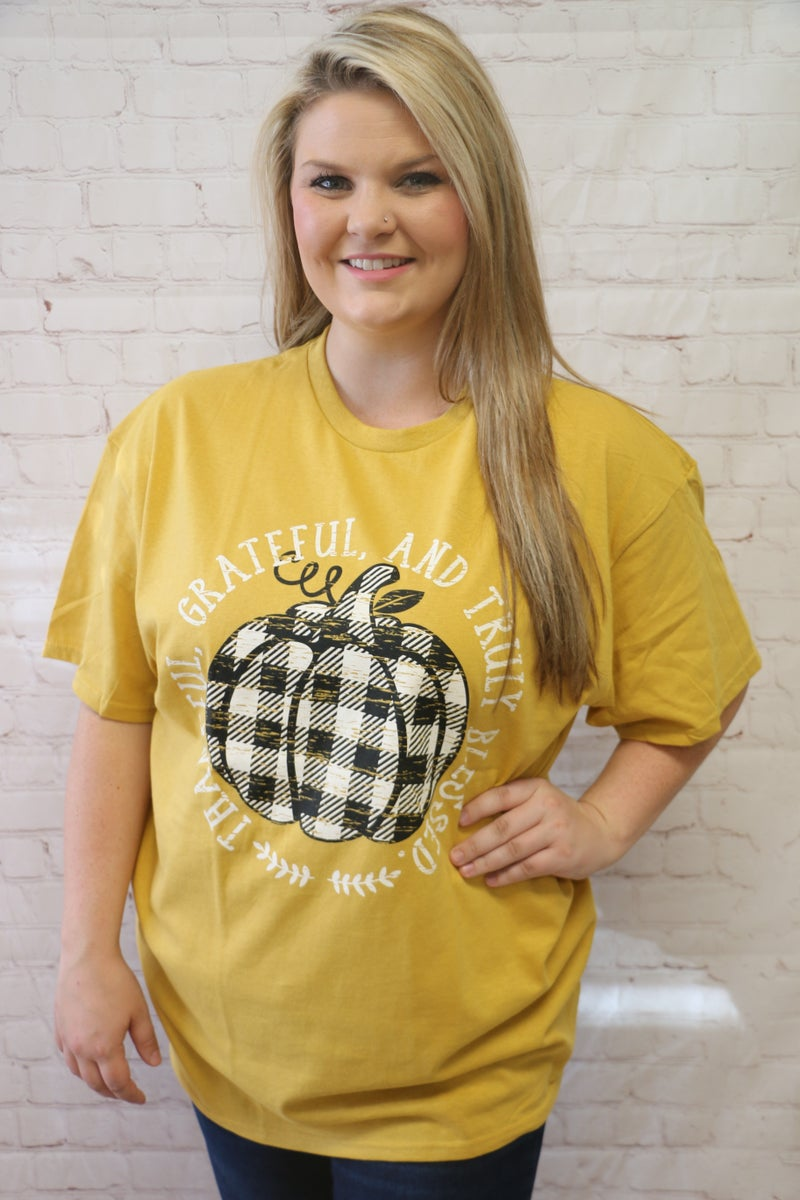 Thankful And Grateful And Truly Blessed Distressed Buffalo Plaid Pumpkin Graphic Tee In Mustard -Sizes 4-18