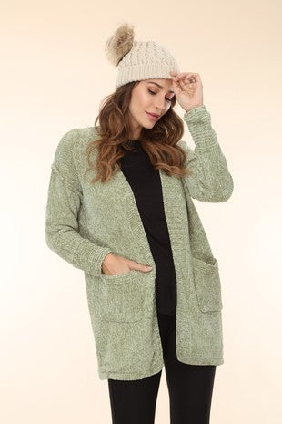 Tell It Right Sage Chenille Cardigan with Front Pockets - Sizes 4-10