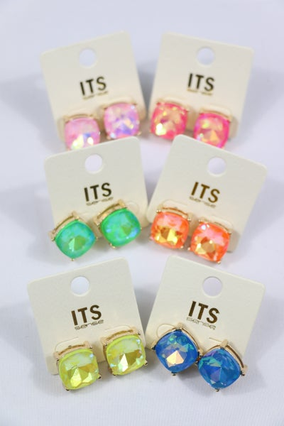 Feeling Classy Square Crystal Stud Earring In Multiple Colors