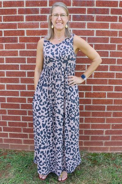 Got What I Got Mocha Leopard Babydoll Tank Dress- Sizes 4-12