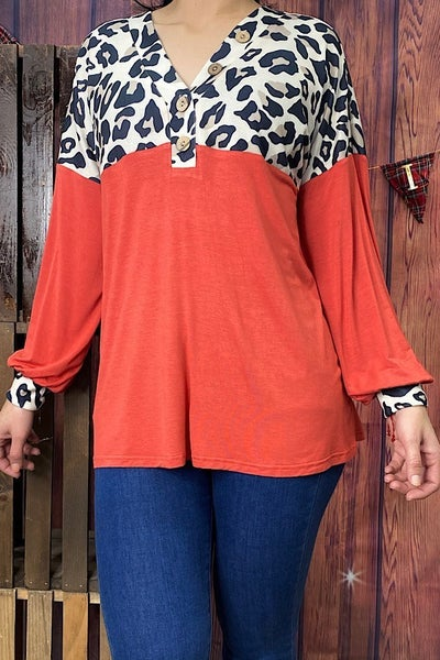 What You Need Orange & Leopard Colorblock Top - Sizes 4-20