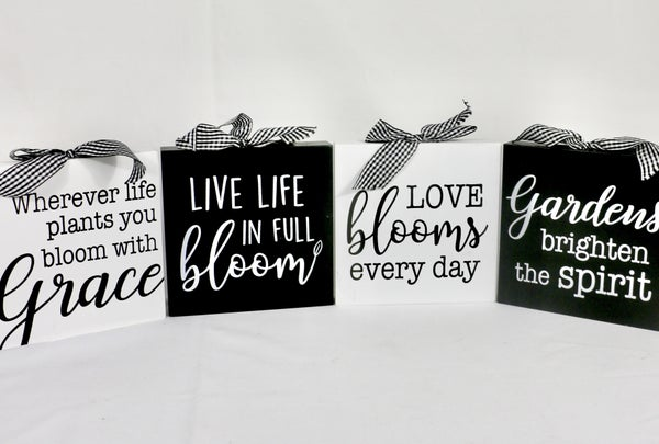 Happiness Black And White Box Sign With Gingham Bow In Multiple Sentiments~