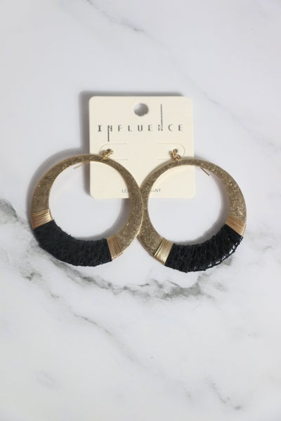 Clever One Gold Hoop Earring  Wrapped With Black Snakeskin