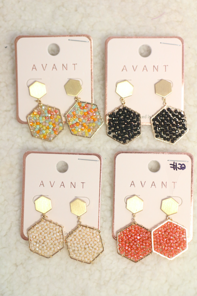 Everyone's Favorite Double Hexagon Beaded Earring In Multiple Colors