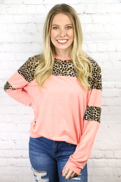 Seasons of Love Pink & Leopard Colorblock Top - Sizes 4-20