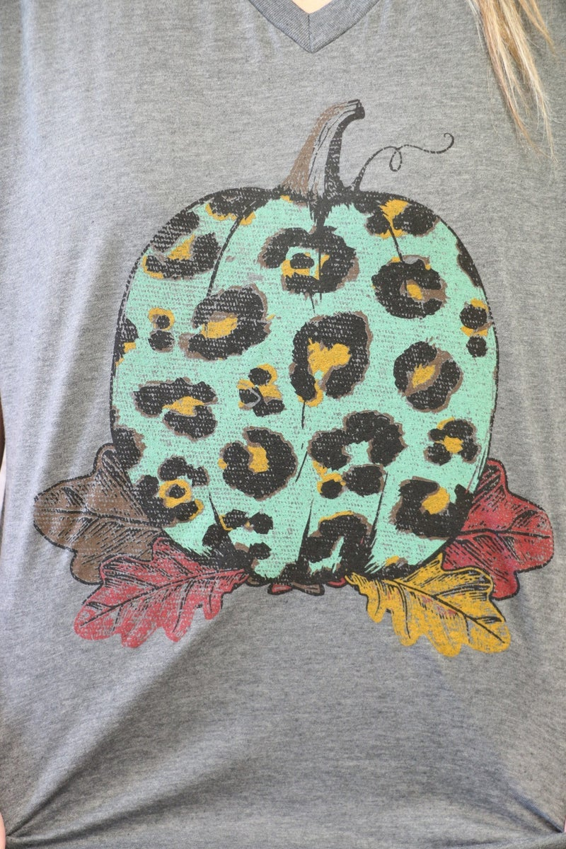 Leopard Pumpkin And Fall Leaves V-Neck Graphic Tee In Charcoal - Sizes 4-18