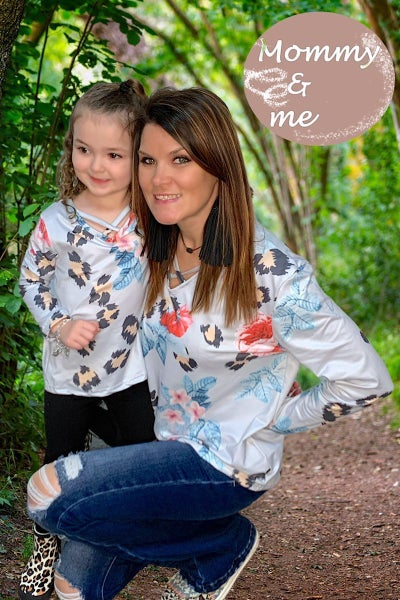 Live for the Moment Mommy & Me Blue Floral and Leopard Print Criss Cross Neckline - Sizes 4-20