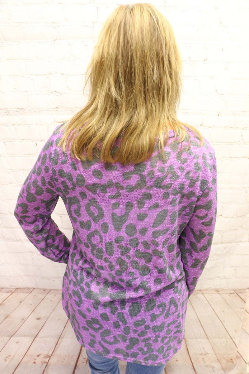 Isn't it Wonderful Purple Mustard and Olive Leopard V-Neck Top - Sizes 4-10