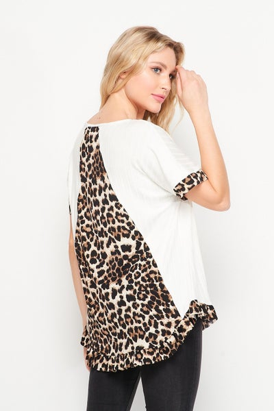 Feeling So Right Ivory Top with Leopard Accents - Sizes 4-20