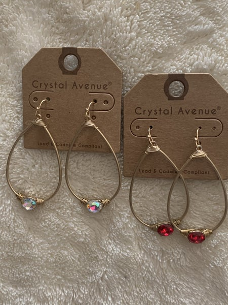 Never Gone Gold Teardrop Earring With Crystal Detail In Multiple Colors