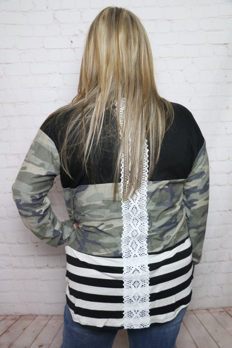 Rhythm of the Night Camo Coloblock with Lace Back Detail - Sizes 12-20